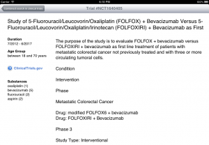 Clinical Trials Search on iPad
